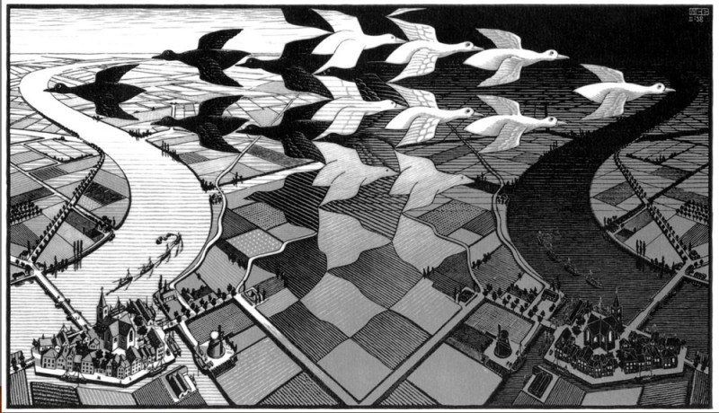 "M.C. Escher ""Day and Night"""